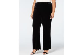 Calvin Klein Women's Black Size 22W Plus Velvet Wide Leg Pants Stretch