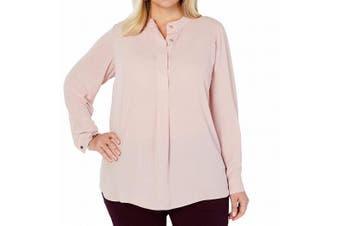 Charter Club Women's Blouse Blush Pink Size 1X Plus Henley Cuff Sleeve