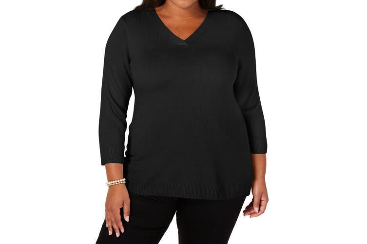 Karen Scott Women's Sweater Black Size 3X Plus Ribbed V-Neck Pullover