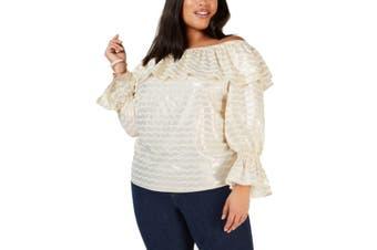 MICHAEL Michael Kors Women's Blouse Gold Size 3X Plus Wave Stripe