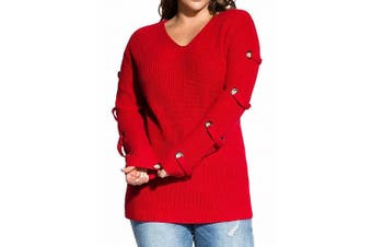 City Chic Women's Sweater Red Size 18W Plus V-Neck Lace-Up Grommet