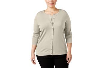 August Silk Women's Sweater Beige Size 1X Plus Cardigan Button Up