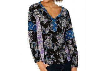 Style & Co. Women's Blouse Black Size 2X Plus Paisley Floral Tassle