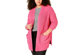 Style & Co. Women's Sweater Pink Size Medium M Cardigan Open-Front