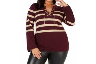 MICHAEL Michael Kors Women's Sweater Red Size 1X Plus Striped Pullover