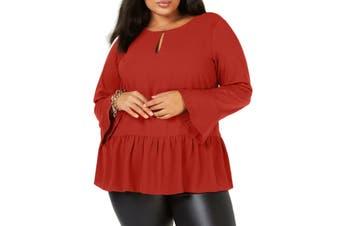 MICHAEL Michael Kors Women's Blouse Burnt Orange Size 1X Plus Peplum