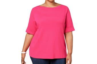 Karen Scott Women's Top Rose Pink Size 1X Plus Knit Boat Neck Cuffed