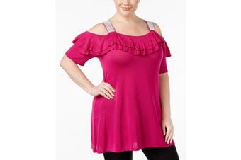 Belldini Women's Top Fucshia Pink Size 2X Plus Knit Cold Shoulder
