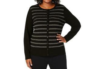 Charter Club Women's Sweater Black Size 2X Plus Metallic Cardigan