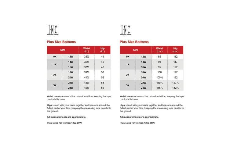 INC Women's Dress Pants Deep Black Size 24W Plus Wide Leg Stretch