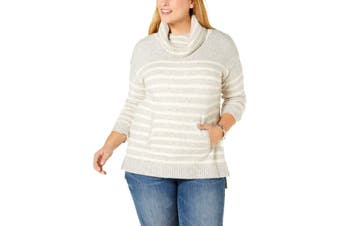 Charter Club Women's Sweater Gray Size 1X Plus Cowlneck Striped Tunic