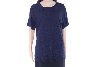 Lauren By Ralph Lauren Women's Top Navy Blue Size 1X Plus Knit Lace