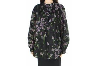 Lauren By Ralph Lauren Women's Blouse Black Size 18W Plus Floral