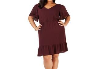MICHAEL Michael Kors Women's Dress Purple Size 2X Plus V-Neck Studded
