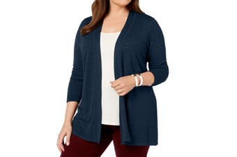 Charter Club Women's Sweater Blue Size 2X Plus Open-Front Cardigan