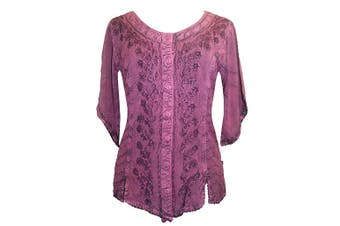 Agan Traders Women's Top Purple Size Medium M Button Down Shirt