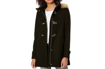 Cole Haan Women's Coat Midnight Black Size 8 Duffle Hooded Camel