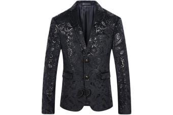 Cloudstyle Mens Blazer Black Size Large L Velvet Two-Button