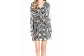 BCBG Generation NEW Black White Print Medium M Tie-Back Shift Dress