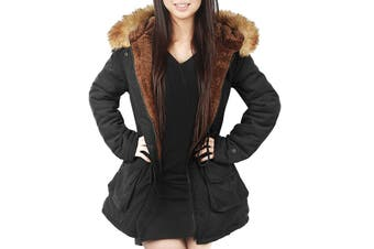 4How Women's Coat Black Size 6 Parka Hooded Faux-Fur Quilted Lined