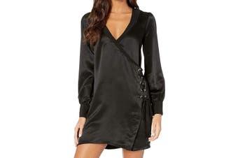 BCBG Generation Women's Dress Black Size XS A-Line Lace-Up V-Neck