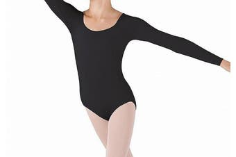 Bloch Deep Black Girl's Size 12 Scoop-Neck Long Sleeve Dance Leotard Top #156