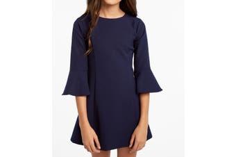 Bardot Girls Dress Navy Blue Size 18 Front Seam Bell Sleeves V-Back