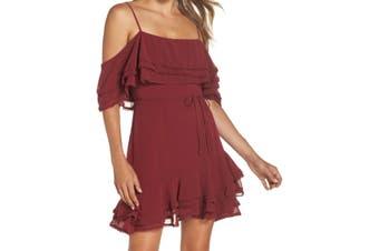 BB Dakota Women's Dress Burgundy Red Size 0 Sheath Ruffled Popover