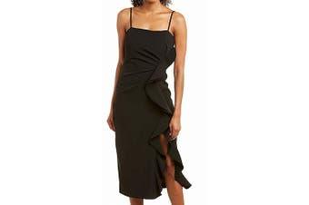 Bardot Women's Dress Midnight Black Size XL Rona Sheath Ruffled Slit