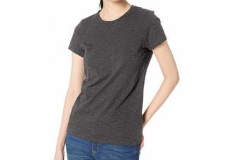 Daily Ritual Women's Top Gray Size Medium M Knit Crewneck Short-Sleeve