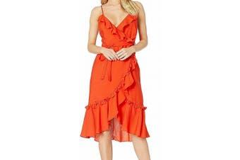 Bardot Women's Dress Vivid Orange Size XS A-Line Belted Ruffle Trim `