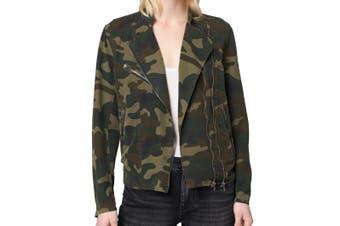 BLANKNYC Women's Jacket Green Size Small S Military Camo Print Full-Zip