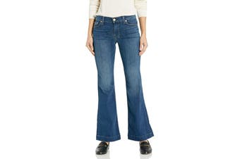 7 For All Mankind Women's Blue Size 30 Flare Leg Trouser Jeans Stretch
