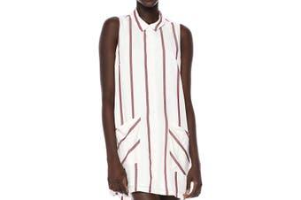 BCBG Generation Women's T-Shirt Dress White Size Small S Striped