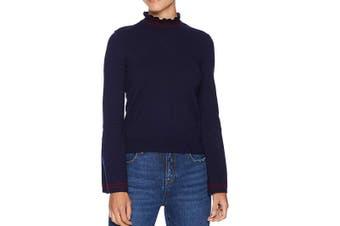 BB Dakota Women's Sweater Blue Size Medium M Ruffle Stripe Mockneck