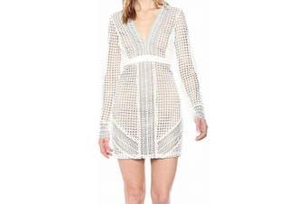 Bardot Women's Dress White Ivory Size Medium M Sheath Eyelet V-Neck