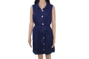 Bella Dahl Womens Dress Denim Blue Size Medium M Shift Belted Linen