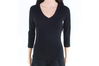 Alternative Women's Top Black Size Small S Knit 3/4 Sleeve V-Neck