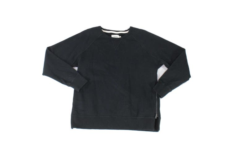 UGG Mens Sweater Black Size Large L Crewneck Side Zippers Pullover
