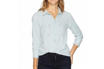 AG Adriano Women's Top Light Blue Size XS Gold Schmied Button Down