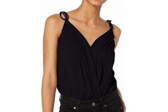 ASTR Women's Top Midnight Black Size Large L Wrap Front Bodysuit