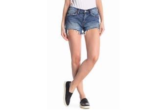 BlancNYC Women's Shorts Blue Size 24 Astor Denim Cut-Off Hem Zip-Fly