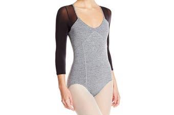 Capezio Gray Women's Size Small S Long Sleeve Mesh Leotard Bodysuit