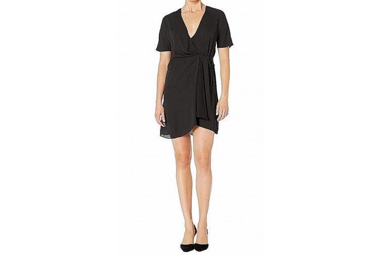 American Rose Women's Dress Black Size Small S Wrap Chiffon Waist-Tie