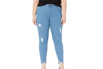 Hue Women's Jeans Blue Size 1X Plus Pull On Jegging Distressed Stretch