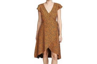 BB Dakota Women's Dress Black Size Medium M Leopard Print V-Neck Wrap