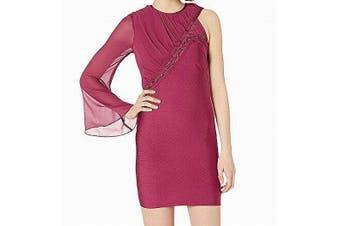 bebe Women's Dress Burgundy Red Size Small S Sheath One Shoulder