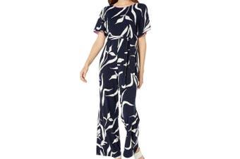 NIC+ZOE Women's Jumpsuit Navy Blue Size Large L Iris Tie Waist