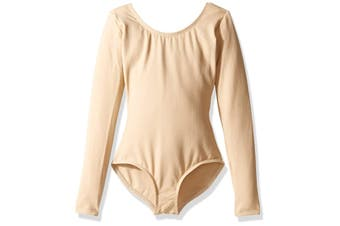 Capezio Girl's Tops Classic Sand Beige Size 1 Bodysuit Long Sleeve