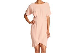 Bobeau Women's Dress Light Coral Pink Size Small S Sheath Faux-Wrap